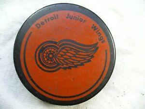 GLJHL Detroit Jr Red Wings Vintage Official Team Logo Hockey Puck Collect Pucks