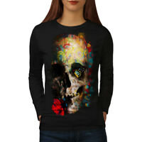 Wellcoda Skull Rose Art Womens Long Sleeve T-shirt, War Casual Design