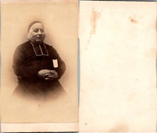 CDV Prêtre âgé en soutane, circa 1860 Vintage CDV albumen carte de visite -  C