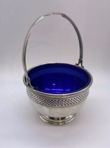 Cartier Vintage Sugar Bowl Basket Sterling Silver Swing Handle Cobalt Glass 263