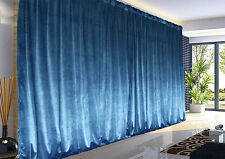Large Thick Velvet Blockout  Curtains 560x 230cm PINCH PLEAT 2 panel +Hooks Blue
