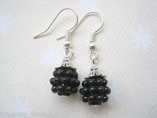 *CUTE BLACKBERRY CHARM* Silver Plated Drop Earrings GIFT POUCH Berry NEW