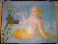 MERMAID ARTISTIC NUDE BLONDE PEARLS TREASURE CHEST FISH LISTED ARTIST PAINTING