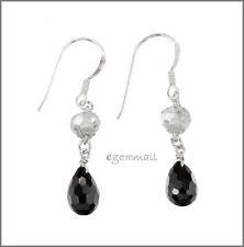 Earrings w/Cz Black #65386 925 Silver Dangle Drop