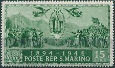 * San Marino 1945: CARDUCCI L.15 [Varietà Filigrana Hammermill; Tir.500]