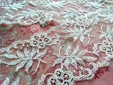 New listing Wow! Antique French Tambour lace net Floral Alencon