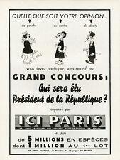 """""""CONCOURS ICI PARIS"""" Annonce originale entoilée FRANCE-ILLUSTRATION 1953 DUBOUT"""