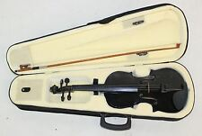 Full Sized Beginners Black Violin 4/4 Scale 4-String Semi-Hard Case Bow Set