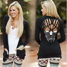 Punk Glam Light Weight Black Long Sleeve Cardigan Sweater W/ Skulls