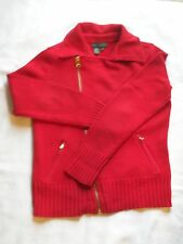WOMENS RALPH LAUREN  100% COTTON SWEATER SIZE SMALL RED WITH GOLD ZIPPERS