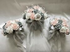 BRIDES POSY & 2 BRIDESMAIDS POSIES, PINK, WHITE & GREY ROSES, ARTIFICIAL FLOWERS