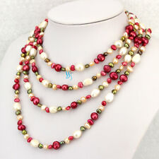 """Freshwater Pearl Necklace Strands 74"""" 5-10mm Multicolor Baroque"""