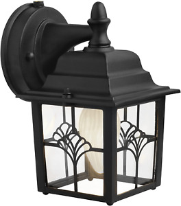 Dust To Dawn Security Light Lamp Wall Mounted Patio Porch Front Door Black Matte