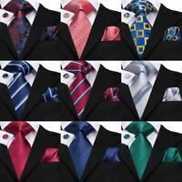 USA Blue Green Red Solid Striped Men's Tie Set Woven Silk Necktie Wedding Formal