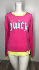 "Juicy Couture Shocking Pink Gothic ""JUICY"" Logo Pullover Sweatshirt Medium NWT!"
