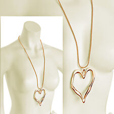 Lagenlook shiny gold large heart abstract pendant 85 cm long chain necklace