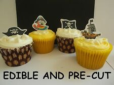 pirate party birthday X24 edible stand up cup cake toppers wafer paper *precut*