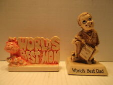 1976 Russ Berrie Co Worlds Best Mom 1630 Worlds Best Dad 795 Figure Paper Weight