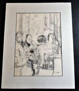 ORIGINAL SKETCH DRAWING OF MEN AROUND TABLE ARTIST SIGNED EDITH KRAMER