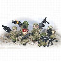 6pcs/lot Militär Soldaten Figuren mit Armee Waffen Bausteine Blocks Spielzeug