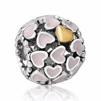 925 European Silver Charms Pink Heart Bead Fit Sterling Bracelets Necklace Chain