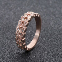 Gold Simple Ring Concise Crystal Wedding Ring Rose Gold Leaf Stone Jewelry WE