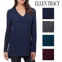 Ellen Tracy Womens V-Neck Marled Knit Pullover Sweater Multiple Colors & Sizes