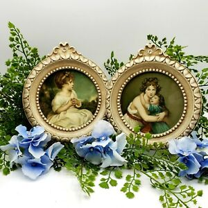Vintage Victorian Period Framed Art PAIR Age of Innocence Artist and Daughter