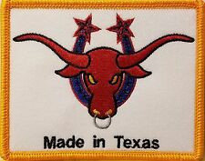 MADE IN TEXAS  Iron-On Patch TEXAS BULL Emblem GOLD Border