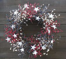 Patriotic Wreath Stars Red White Blue Pip Berry USA Americana Door Decor Flag