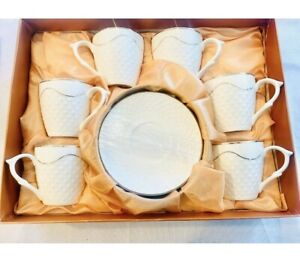 12PC Tea Cups Saucers Set Gift box Coffee Espresso Latte Cup Gold Trim Procelain