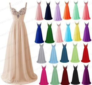 New Long Chiffon Prom Dress Bridesmaid Formal Evening Party Ball Gown Stock 6-28