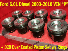 Ford 6.0 6.0L Diesel Pistons +.020 03-10 MAHLE Clevite Coated w/ Rings Set of 8
