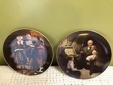 Lot Of 2 Knowles Norman Rockwell Grandpa's Treasure Chest, Evenings Ease Plates