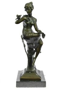 Girl with Bird on The Hand Mid Century Gift Bronze Sculpture Signed by Artist