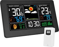 Kalawen Weather Station with Outdoor Indoor Sensor, MSF Wireless Digital Alarm