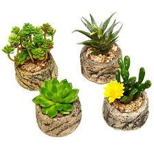 Lifelike Mini Succulent Artificial Plants Pot Home Dining Living Room Decor 4 pc