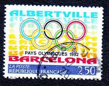 TIMBRE 1992 JEUX OLYPIQUES ALBERTVILLE OBLITÉRÉ CACHET ROND
