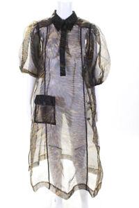 GANNI Womens Printed Organza Sheer Dress Tiger Size 36