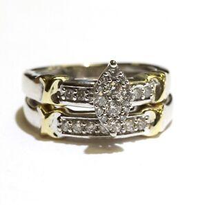 10k multi tone gold .25ct round diamond engagement ring wedding band 4.5g 3.5