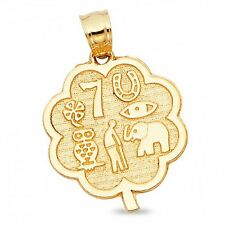 Flower Lucky Symbols Pendant Solid 14k Yellow Gold Good Luck Charm Diamond Cut