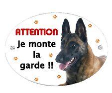 Plaque Attention au chien Malinois personnalisée avec votre texte