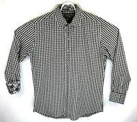Robert Graham Mens Large Black White Checkered Flip Cuff Long Sleeve Shirt