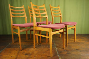 Vintage Dining Room Chairs 60s Danish Retro 4 X Chair Kitchen Chairs 60er