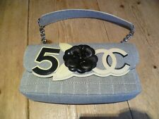 Stunning CHANEL No.5 CC Black Camelia Small Quilted Textile Flap BAG, Clutch