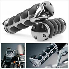 "2 X Chrome+Black Motorcycles Atv Handlebar End Grips For 1""(25mm)Left/Right Grip (Fits: More than one vehicle)"