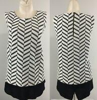 Pleione Womens Black White Striped Sleeveless Blouse Size M Zip Up Tunic Top
