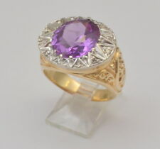 18k Solid Gold Amethyst and Diamond Ring 14.5 Grams Heavy & Sparkling Size 9.5