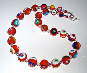 Charming Red Multicolored Murano Millefiori Glass Necklace