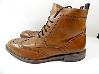 Men's Stafford 014-1218 Brown Leather Lace-Up Brogue Wingtip Ankle Boots US 12M